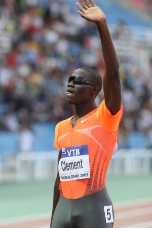 THESSALONIKI, GREECE - SEPT 12: Kerron Clement celebrates winning the mens 400m hurdles final at the IAAF 2009 World Athletics Final on September 12, 2009 in Kaftatzoglio stadium,Thessaloniki,Greece