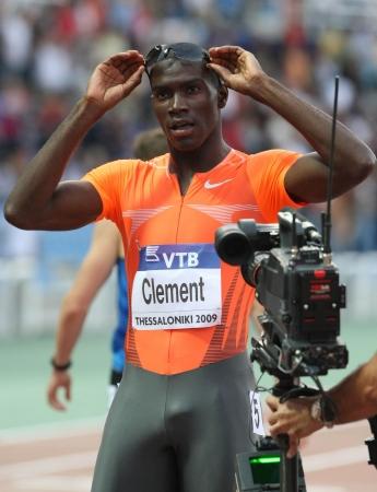 THESSALONIKI, GREECE - SEPT 12: Kerron Clement celebrates winning the mens 400m hurdles final at the IAAF 2009 World Athletics Final on September 12, 2009 in Kaftatzoglio stadium,Thessaloniki,Greece