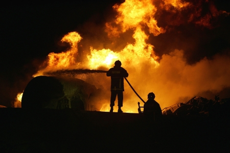 KILKIS,GREECE - MAY 9,2007: Fire-fighters trains extinguishing a fire  Stock Photo - 16223980