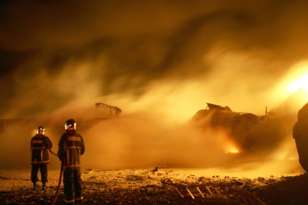 KILKIS,GREECE - MAY 9,2007: Fire-fighters trains extinguishing a fire  Stock Photo - 16223981