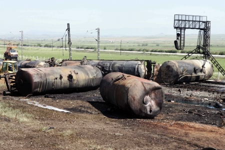 KILKIS,GREECE - MAY 10, 2007: Wagons ruins after fire disaster  Stock Photo - 16223984