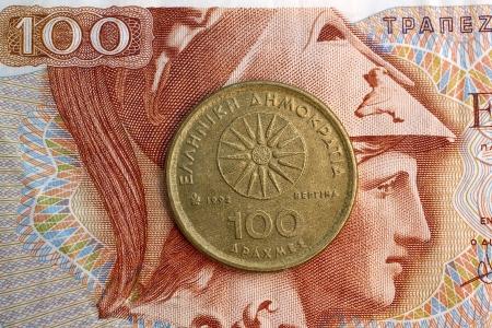 Old Greek coin, 100 drachmas  Stock Photo
