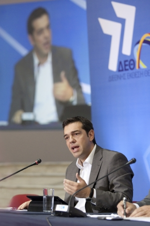 alexandros: THESSALONIKI, GREECE - SEPT 16, 2012: Syriza leader Alexis Tsipras press conference of 77th Thessaloniki International Fair in the northern port city of Thessaloniki
