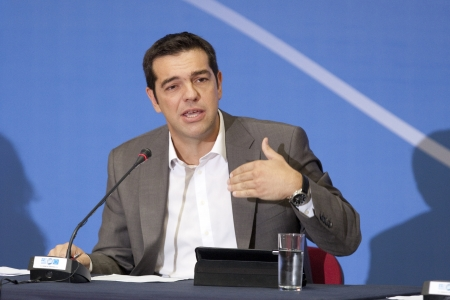 THESSALONIKI, GREECE - SEPT 16, 2012: Syriza leader Alexis Tsipras press conference of 77th Thessaloniki International Fair in the northern port city of Thessaloniki