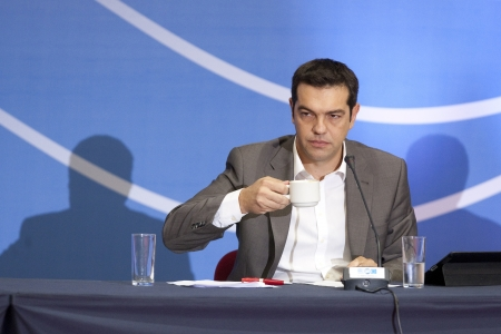 THESSALONIKI, GREECE - SEPT 16,2012: Syriza leader Alexis Tsipras press conference of 77th Thessaloniki International Fair in the northern port city of Thessaloniki