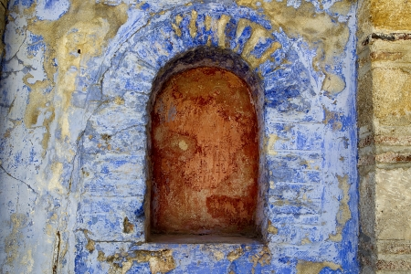Archway in a brick colorfull stone wall at Hilandar Monastery on the southwest side of the peninsula of Mount Athos in Greece Stock Photo - 16268402