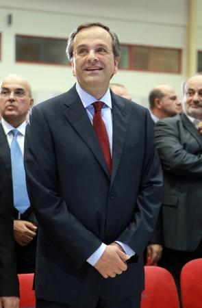 chairman: THESSALONIKI,GREECE - Sept 17, 2012: Leader of New Democracy Antonis Samaras during the 76th Thessaloniki International Fair (TIF), in Thessaloniki