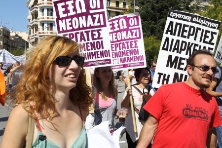 Thessaloniki, Griechenland - 26. September 2012: Griechische Demonstranten des Allgemeinen Gewerkschaftsbundes der griechischen Arbeiter demonstrieren gegen noch mehr Stellenstreichungen und Steuererhöhungen