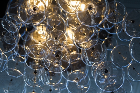 Contemporary crystal chandelier.Close up on the crystal balls of a contemporary chandelier.  photo