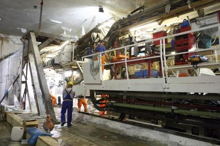 Thessaloniki, Griechenland - 2. August 2010: Werke für den Bau der U-Bahn in der Mitte der Stadt Editorial