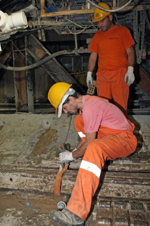 THESSALONIKI, GREECE - AUG 2, 2010: Works for the construction of metro in the center of town Stock Photo - 16285632