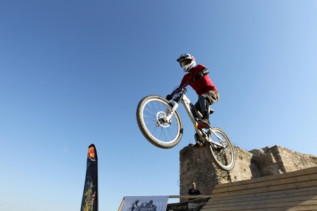 THESSALONIKI,GREECE - SEPT 30, 2012: Unidentified  bikers take part Yedi Kule Runaway competition in Thessaloniki during Urban Downhill