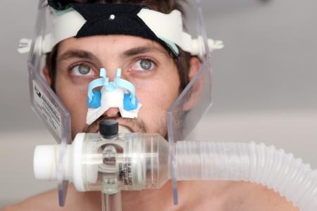 THESSALONIKI, GREECE - JUNE 25, 2012 : Giorgos Georgiadis football player of PAOK while going through ergometric tests