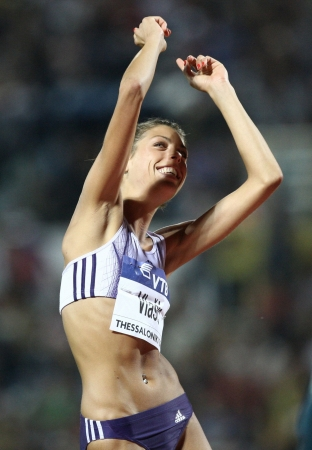 THESSALONIKI, GREECE -SEPTEMBER 12, 2009: Blanka Vlasic after a successful jump for the IAAF World Athletics Finals main event in Kaftatzoglio Stadium