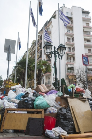 THESSALONIKI,GREECE - NOV,20 2012 : Streets filled with garbage due to garbage men strike for 2 weeks in the city of Thessaloniki . on Nov 20, 2012 in Thessaloniki, Greece.