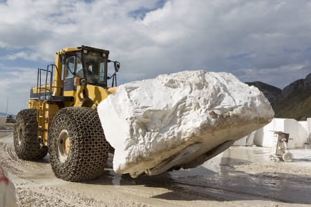 A loader in marble quarry Stock Photo