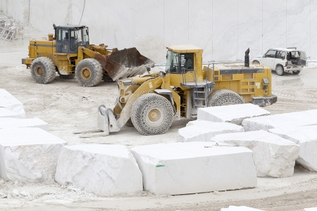 deposits: A loader in marble quarry Stock Photo