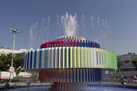 A modern fountain in dizengoff center in Tel Aviv Israel Stock Photo - 16585563