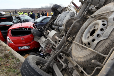 THESSALONIKI,GREECE - JAN,22: 28 vehicle pile-up on the Egnatia motorway in Kleidi after the crash that occurred early today due to fog on 22 January, 2013. One woman died and 26 others where injured
