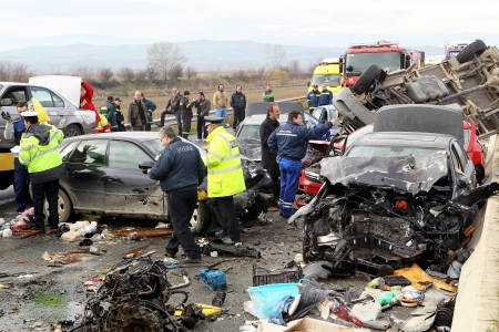 pileup: THESSALONIKI,GREECE - JAN,22: 28 vehicle pile-up on the Egnatia motorway in Kleidi after the crash that occurred early today due to fog on 22 January, 2013. One woman died and 26 others where injured