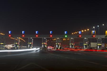 Night scene of toll station