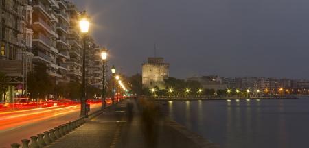 THESSALONIKI, GREECE - NOV 26: Thessaloniki City, view from the sea at night, Greece 26 November, 2012 in Thessaloniki, Greece