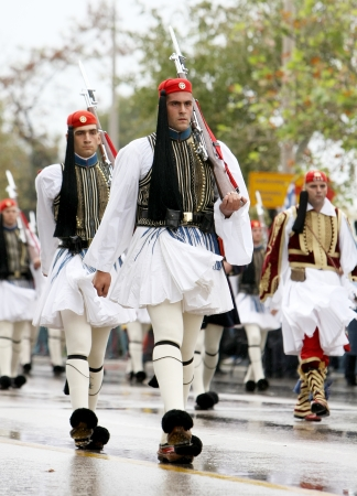 tsolias: THESSALONIKI, GREECE - OCTOBER 28: On 28th of each October a parade is held for the anniversary of Greek rejection over Italian dictator on October 28, 2012 in Thessaloniki, Greece.