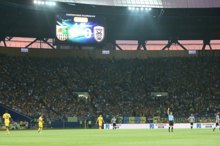 KHARKIV, UKRAINE -AUG 07:Wide view of the UEFA Champions League soccer match METALIST vs PAOK at Metalist Arena on August 07,2013 in Kharkiv, Ukraine.