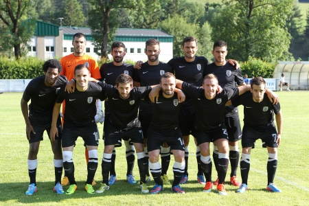 thessaloniki: BRUCK AN DER MUR, AUSTRIA -JUL 07  Group photo of PAOK team before the friendly match Anzi vs PAOK on July 07,2013 in Bruck an der Mur, Austria