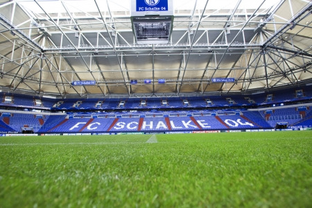 GELSENKIRCHEN, GERMANY -AUG 21: Interior view of Veltins Arena on Aug 21,2013 in Gelsenkirchen, Germany.