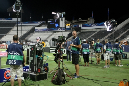 playoff: THESSALONIKI, GREECE - AUG 27 : German TV media broadcasting before the Champions League play-off match PAOK vs Schalke on Aug 27, 2013 in Thessaloniki, Greece.