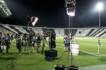 THESSALONIKI, GREECE - AUG 27 : German TV media broadcasting before the Champions League play-off match PAOK vs Schalke on Aug 27, 2013 in Thessaloniki, Greece.
