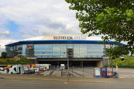GELSENKIRCHEN, GERMANY -AUG 21: Exterior view of Veltins Arena on Aug 21,2013 in Gelsenkirchen, Germany.
