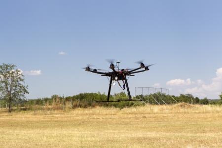 Flying uav hexacopter drone