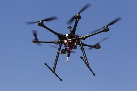 Voler UAV drone Hexacopter Banque d'images