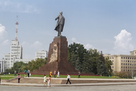 KHARKIV, UKRAINE AUG 7   A monumental statue of Lenin was erected in 1964 in the Freedom Square on 7 August, 2013 Kharkiv, Ukraine