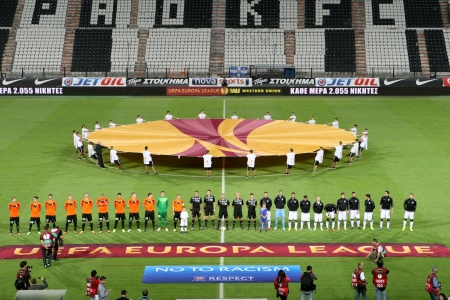 anthem: THESSALONIKI, GREECE - SEPT 19 : Front view of the teams during the Europa League Anthem before the Europa League match PAOK vs Shakhter on September 19, 2013 in Thessaloniki, Greece.