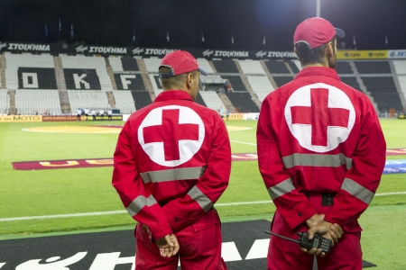 THESSALONIKI, GREECE - SEPT 19 : Medical Team members in the stadium during the Europa League group stage match PAOK vs Shakhter Karagandy on September 19, 2013 in Thessaloniki, Greece.  Editorial