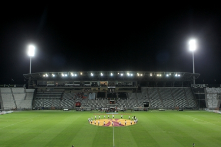 THESSALONIKI, GREECE - SEPT 19 : Rear view of the teams during the Europa League Anthem before the Europa League match PAOK vs Shakhter on September 19, 2013 in Thessaloniki, Greece.