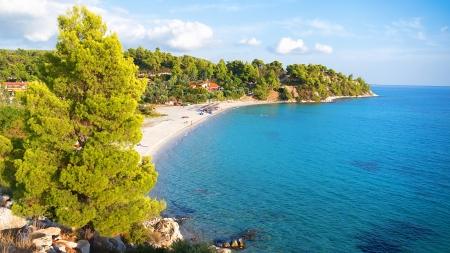 Aerial view of beach Koviou in Halkidiki, Greece photo