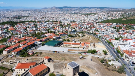 Aerial panoramic view of the old Byzantine Castle in the city of Thessaloniki, Greece. photo
