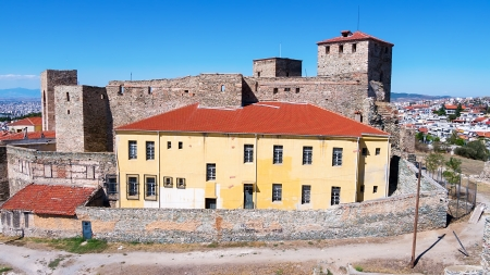 Aerial panoramic view of the old Byzantine Castle in the city of Thessaloniki, Greece.