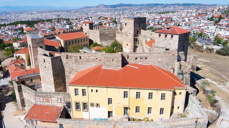 Aerial panoramic view of the old Byzantine Castle in the city of Thessaloniki, Greece  Editorial