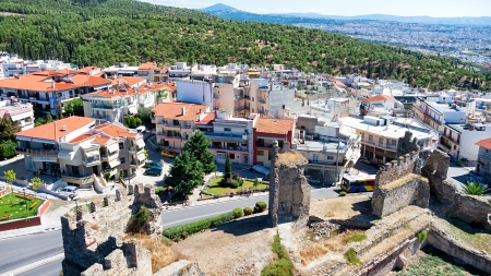 Aerial panoramic view of the old Byzantine Castle in the city of Thessaloniki, Greece  Stock Photo