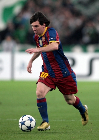 ATHENS, GREECE - NOV 24 : Messi of Barcelona in action during the UEFA Champions League group stage match Panathinaikos vs Barcelona on November 24, 2010 in Athens, Greece