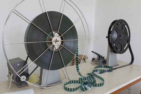 THESSALONIKI,GREECE–NOV 5:Old motion picture film reel during the TIFF on November 5, 2012. This festival is among the top film festivals of Europe and the oldest in the Balkans.