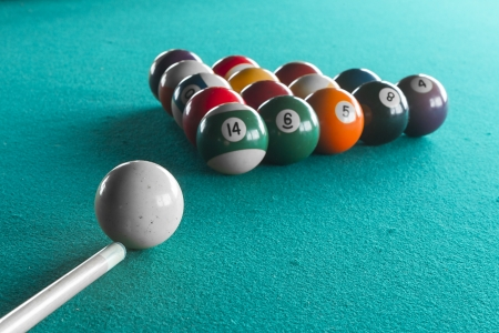 Billiard balls on table. photo