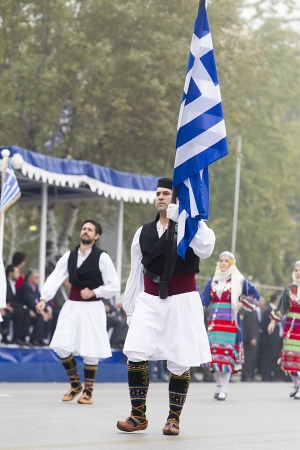 tsolias: THESSALONIKI, GREECE - OCTOBER 28: On 28th of each October a parade is held for the anniversary of Greek rejection over Italian dictator on October 28, 2013 in Thessaloniki, Greece Editorial