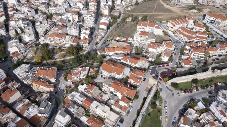 Aerial panoramic view of the old Byzantine Castle, the port and the rest Thessaloniki city, Greece. photo
