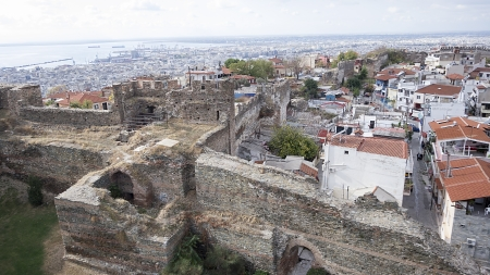 Aerial panoramic view of the old Byzantine Castle, the port and the rest Thessaloniki city, Greece.